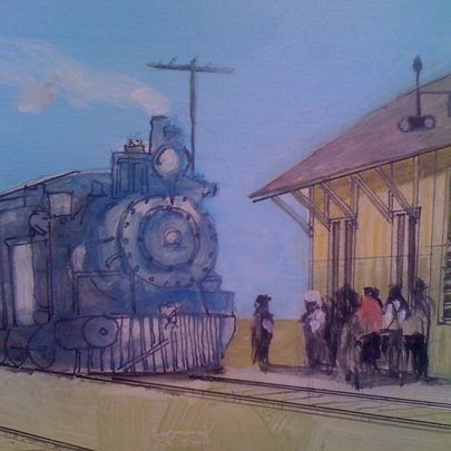 Architectural Watercolor rendering train  resized 600
