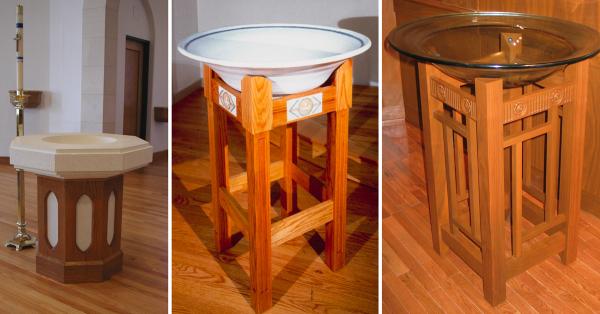 Pedestal Baptismal Fonts -- St. John Lutheran, Boerne TX -- First United Methodist, Austin, TX -- First Presbyterian, Bryan, TX
