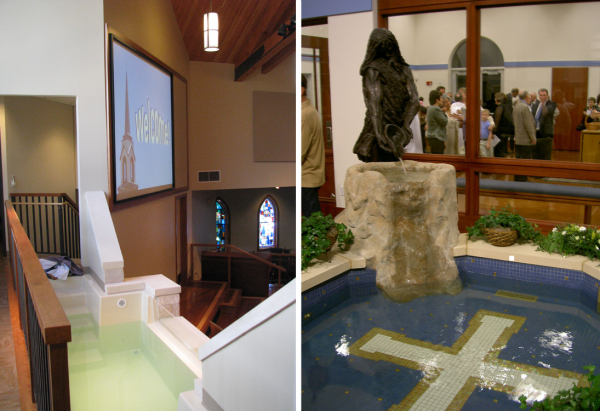Immersion Baptismal Fonts -- First Baptist, Dripping Springs, TX -- St. Frances Cabrini, Houston, TX