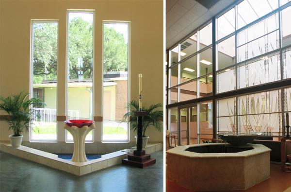 Baptismal Fonts -- Narthex--Salem Lutheran Church, Houston, TX -- University Catholic Center, Austin, TX