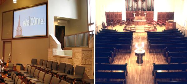 Baptismal Fonts -- First Baptist, Dripping Springs, TX -- Grace Lutheran Church, Winchester, VA
