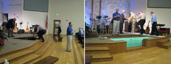 Immersion Baptismal Font in Platform -- First Church of the Nazarene, New Braunfels, TX
