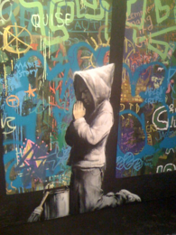 a touch of sacred - Banksy Boy praying
