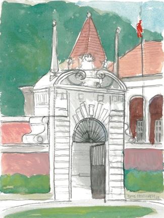 Architectural Watercolor Lisbon Gate