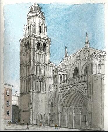 Architectural Watercolor Toledo Cathedral Ext