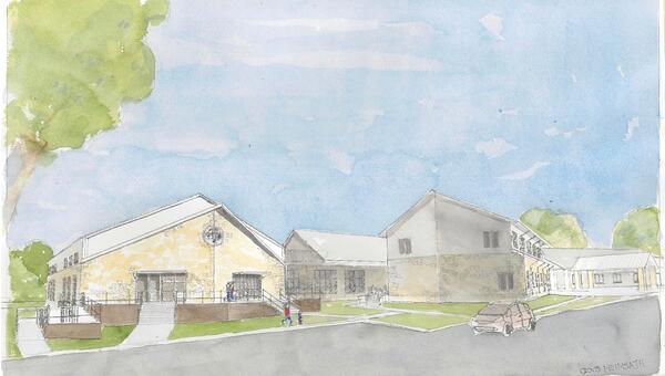 Watercolor of Recreation Center