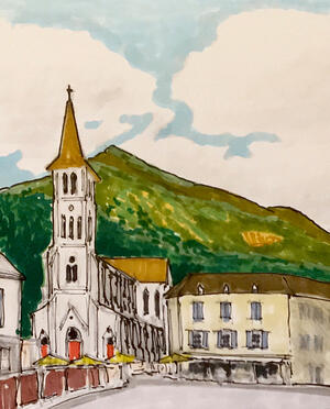Church Sketching Tour de France Notre Dame dOssau - Laruns Stage 9