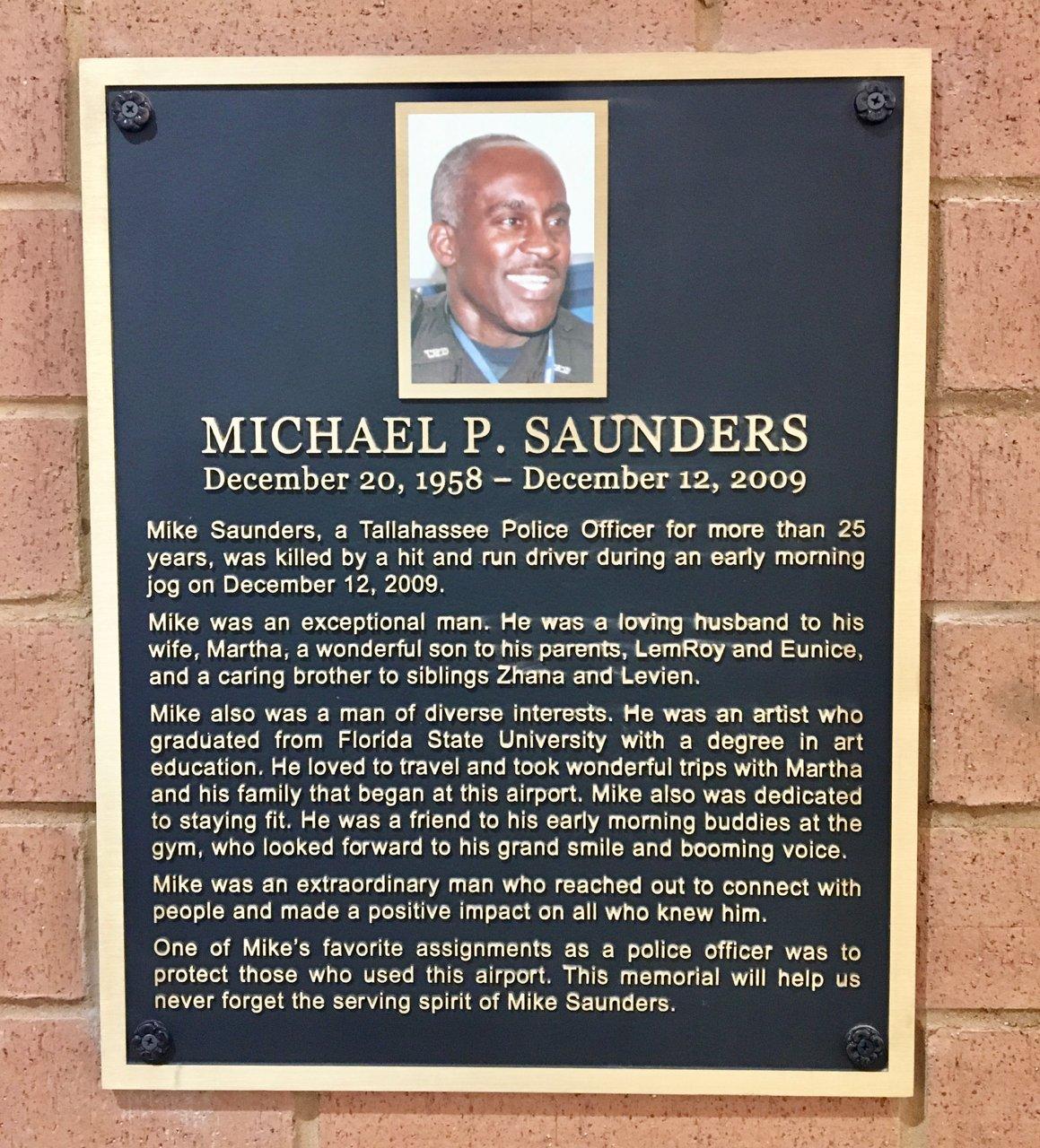 Officer Saunders Memorial Plaque