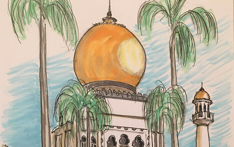 Sultan Mosque Singapore Sketch Virtual Heimsath Architects Austin