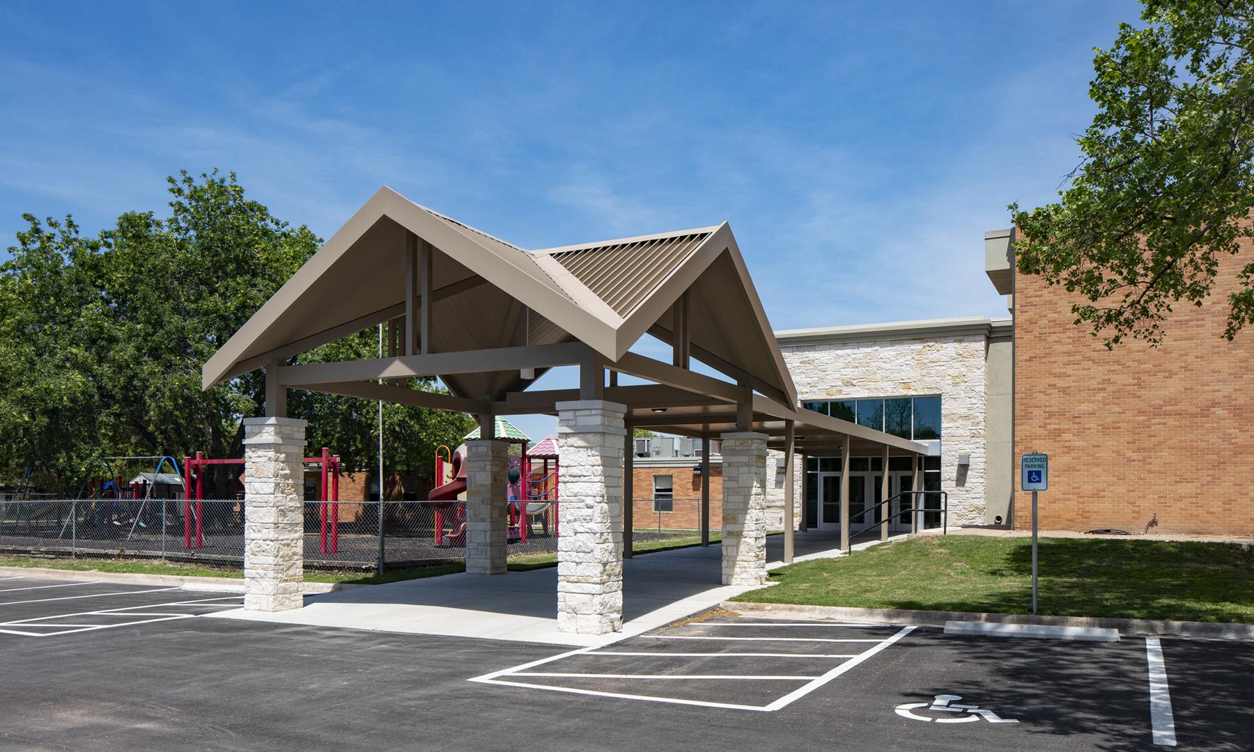 Woodlawn Baptist Church Canopy Drop-Off, Austin, TX, Heimsath Architects Church Design Specialists