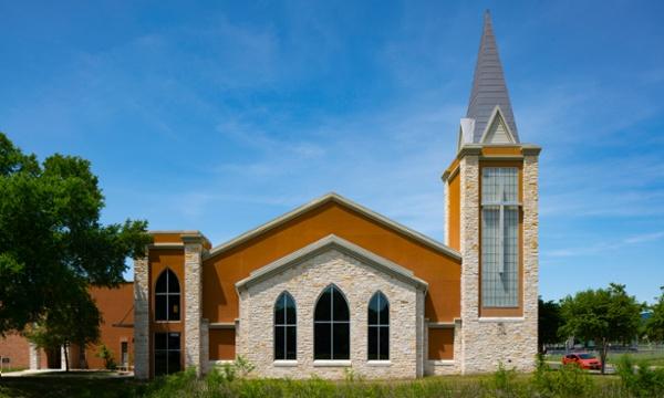 Woodlawn Baptist Church Exterior Elevation, Austin, TX, Heimsath Architects Church Design Specialists