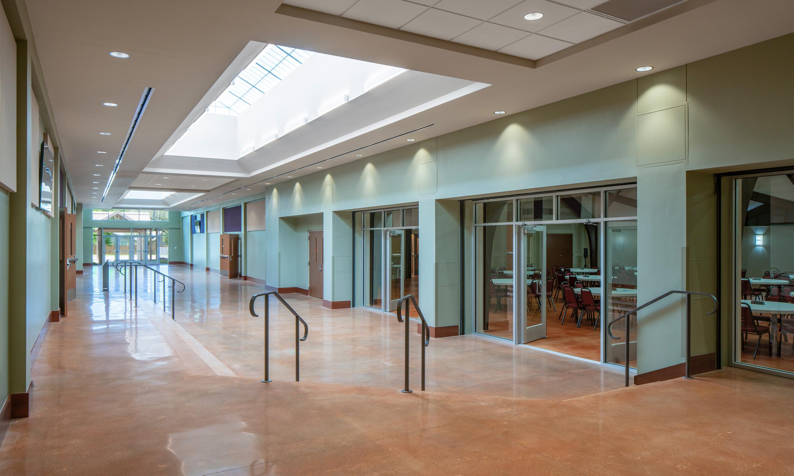 Woodlawn Baptist Church Foyer Connection Center, Austin, TX, Heimsath Architects Church Design Specialists