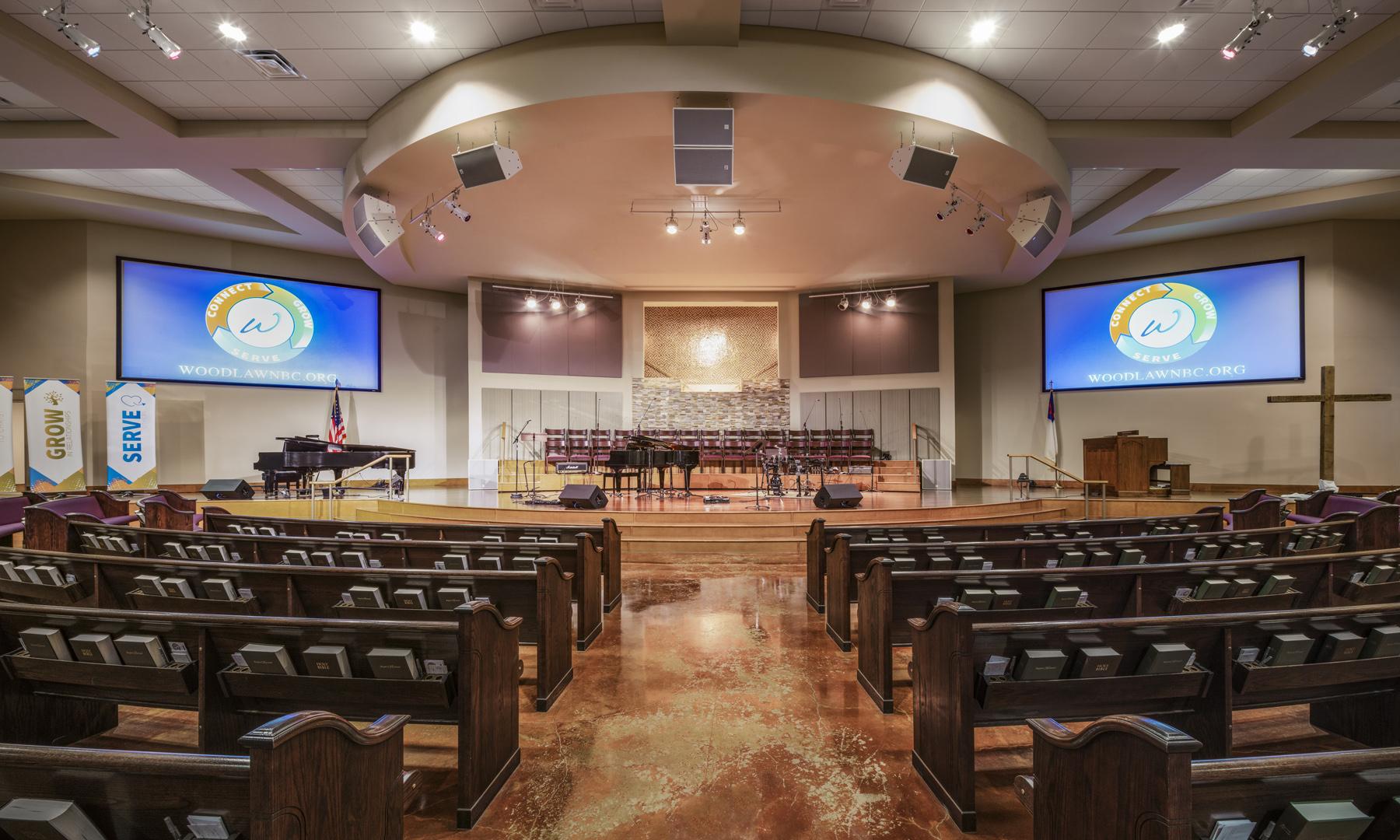 Woodlawn Baptist Church Sanctuary Interior, Austin, TX, Heimsath Architects Church Design Specialists
