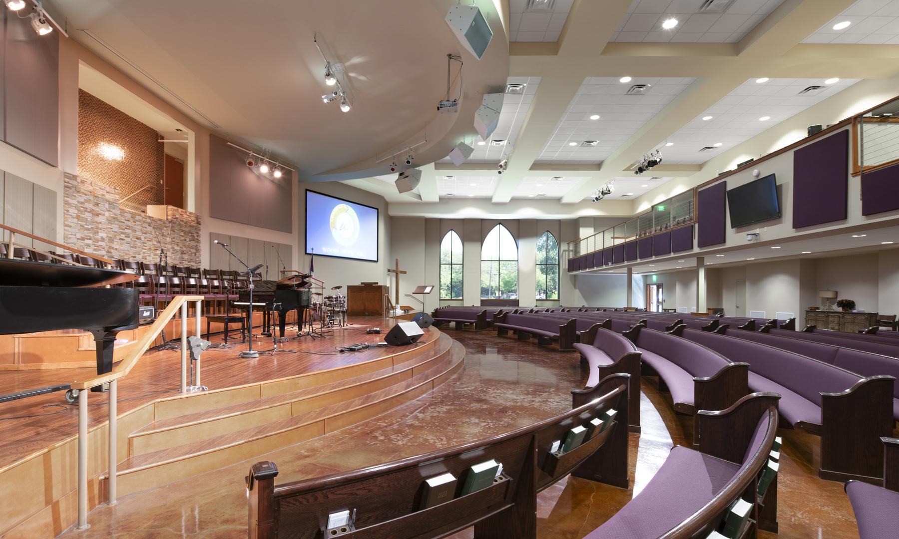 Woodlawn Baptist Church Sanctuary Interior Side View, Austin, TX, Heimsath Architects Church Design Specialists