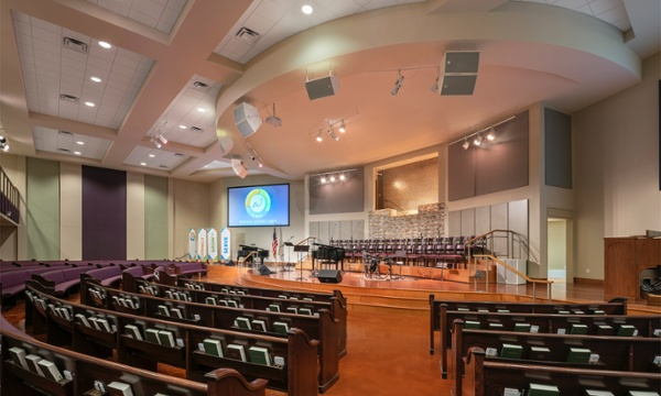 Woodlawn Baptist Church Sanctuary View to Choir, Austin, TX, Heimsath Architects Church Design Specialists