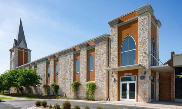 Woodlawn Baptist Church Side Elevation,Austin, TX, Heimsath Architects Church Design Specialists